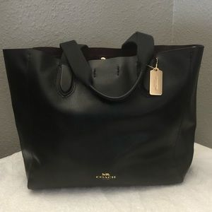 Coach Large Derby Tote Black Leather